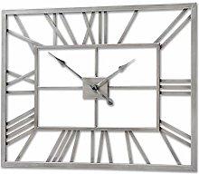 Hill 1975 Silver Rectangular Skeleton Wall Clock,