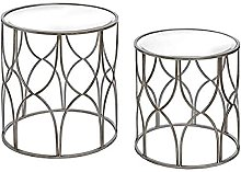 Hill 1975 Small Lattice Detail Silver Side Table,