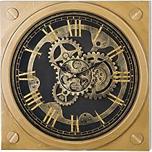 Hill 1975 Square Gold Moving Mechanism Clock,