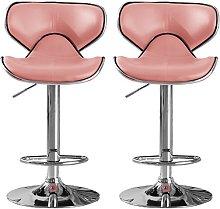 Hillside Pink PU Leather Bar Stool In Pair With