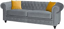 Hilton Chesterfield style Grey French Velvet
