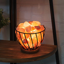 Himalayan Rock Salt Fire Effect Basket Lamp UK