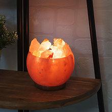 Himalayan Rock Salt Fire Effect Basket Lamp UK Plug