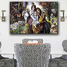 Hindu God Radha Krishna Love HD Wall Art Canvas