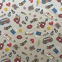 Hippies Design Cotton Rich Linen Look Fabric For