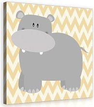 Hippo Art Print on Canvas in Grey/Beige/Cream East