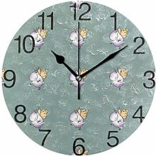 Hippopotamus with Wings Round Wall Clock, Silent