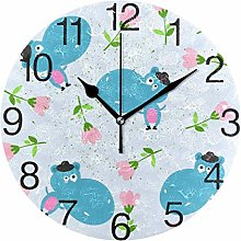 Hippos with Flowers Round Wall Clock, Silent