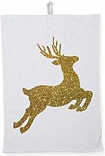 Hippowarehouse Christmas gold glitter reindeer