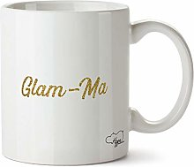 Hippowarehouse Glam-ma - Gold Glitter Printed Mug
