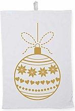 Hippowarehouse Gold bauble Printed Tea Towel Dish
