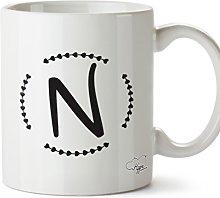 Hippowarehouse N Initial Printed Mug Cup Ceramic