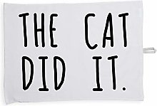 Hippowarehouse The Cat Did It Printed Tea Towel