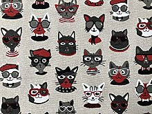 Hipster Cats with Sunglasses Fabric Upholstery