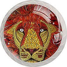 Hipster Lion Print Drawer Knobs Pulls Cabinet