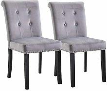 Hironpal Grey Set of 2 Studded Dining Chair Velvet