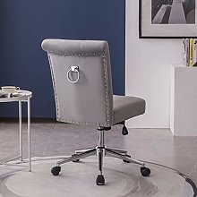 Hironpal Grey Velvet Office Desk Chair Thick