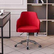 Hironpal Office Desk Chair Linen Fabric Red