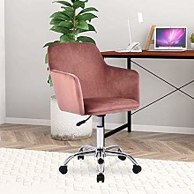Hironpal Pink Velvet Home Office Chair Ergonomic
