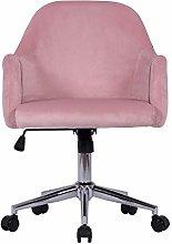 Hironpal Pink Velvet Home Office Chair Ergonomic