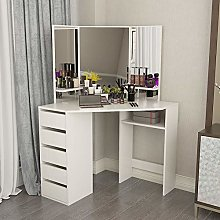 Hironpal White Corner Curved Dressing Table Makeup