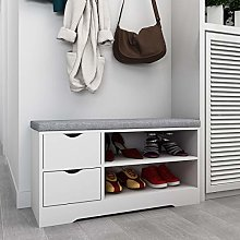 Hironpal White Shoe Rack Ottoman Bench Change Shoe