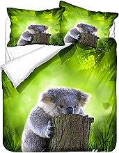 Hiseng Duvet Cover Set 3 Pieces - 3D Cute Koala