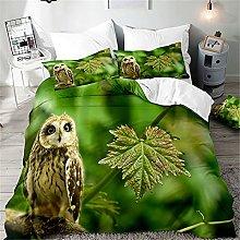 Hiseng Duvet Cover Sets 3D, Owl Print 3 Pieces