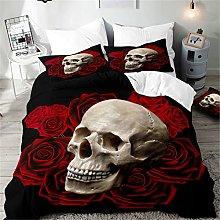 Hiseng Duvet Cover Sets 3D, Skull Print 3 Pieces