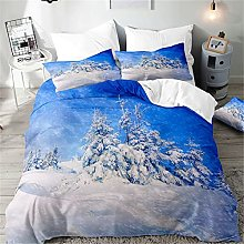 Hiseng Duvet Cover Sets 3D, Snowflake Print 3