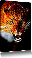 Hissing Leopard Photographic Art Print on Canvas