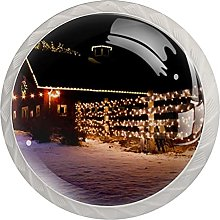 Historic Farm Decorated with Christmas Lights, 4