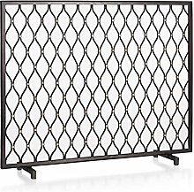 HIZLJJ Fireplace Screens Panel Spark Guard,Iron