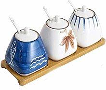 HIZLJJ Hand-Painted Ceramic Spice Jar with Lid