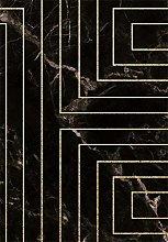 HJFGIRL Home Designer Rug—Modern Black Marble