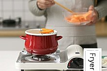 HJFGSAK Soup Pot Red Fryer with Filter Kitchen Pot