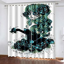 HJLXDP 3D Printing Curtains Goth, girl, flowers