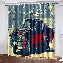 HJLXDP Blackout Curtain for Bedroom Retro, car,