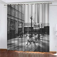HJLXDP Blackout Curtain for Bedroom Retro, street,