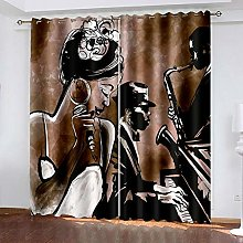 HJLXDP Blackout Curtains for Kids Bedroom Piano,