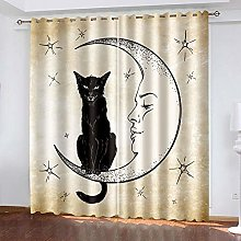 HJLXDP Curtain for Living Room Retro, cat, moon