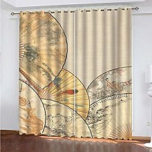HJLXDP Curtain for Living Room Retro, fan,