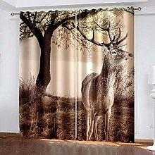 HJLXDP Curtain for Living Room Retro, plant, deer