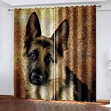 HJLXDP Curtains for Bedroom Retro, animal, wolfdog