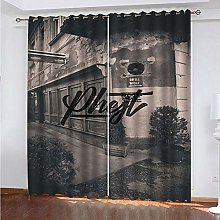 HJLXDP Curtains for Bedroom Retro, art,