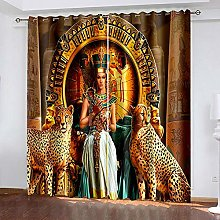 HJLXDP curtains for bedroom Retro, woman, animal