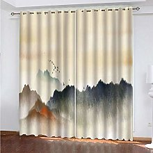 HJLXDP curtains for bedroom Vintage, ink painting,