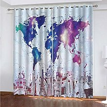 HJLXDP Eyelet Blackout Curtains High-rise, map,