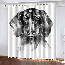 HJLXDP Eyelet Blackout Curtains Retro, animal, art