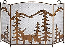 HJRBM Fireplace Screen Rustic Metal Mesh with